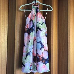 1.State Halter Floral Mini Dress